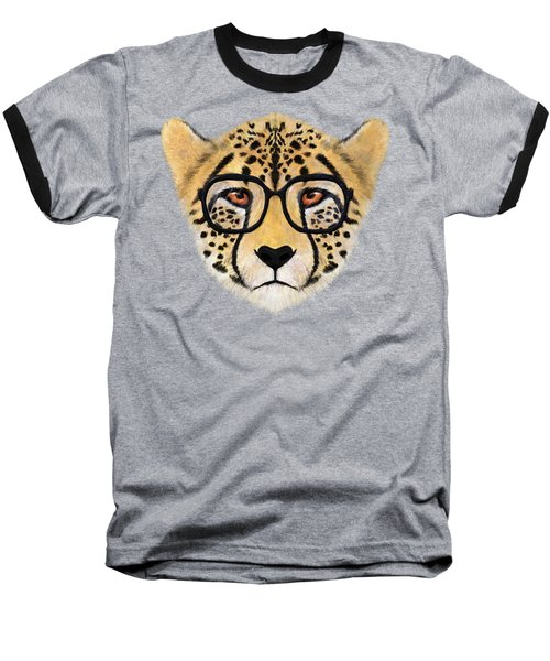 Wild Cheetah With Glasses  Baseball T-Shirt by David Ardil