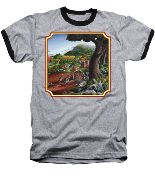 Wild Turkeys In The Hills Country Landscape - Square Format Baseball T-Shirt by Walt Curlee
