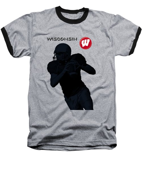 Wisconsin Football Baseball T-Shirt by David Dehner