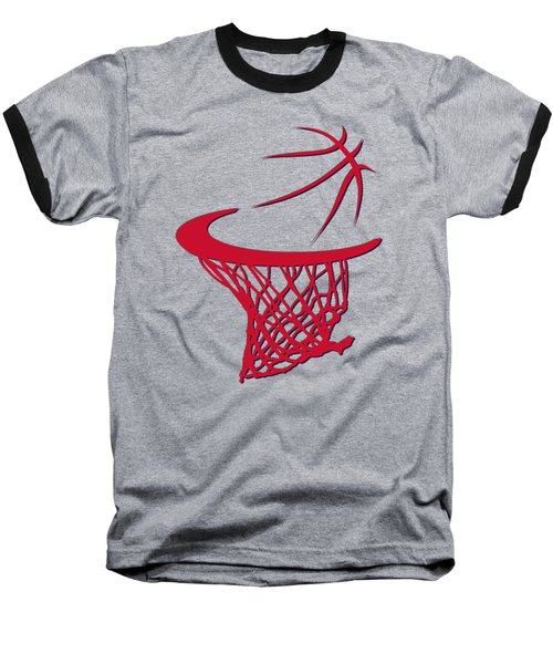 Wizards Basketball Hoop Baseball T-Shirt by Joe Hamilton