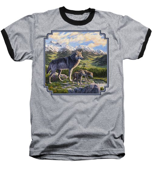 Wolf Painting - Passing It On Baseball T-Shirt by Crista Forest