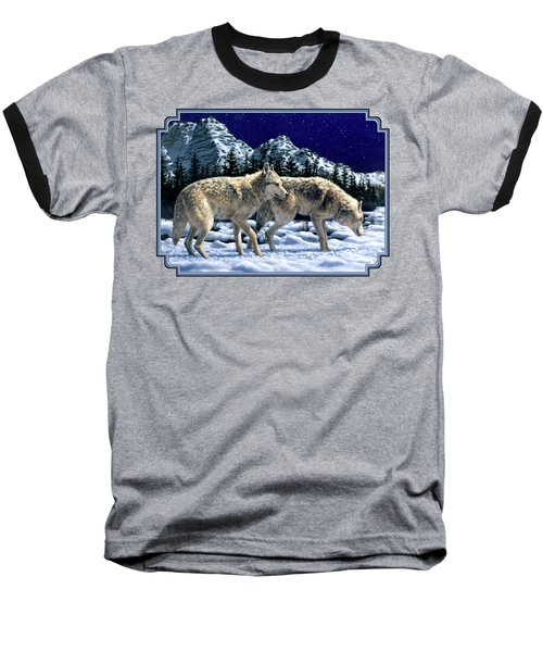 Wolves - Unfamiliar Territory Baseball T-Shirt by Crista Forest