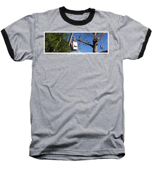 Woodland Tree Service Baseball T-Shirt by Evergreenarborists