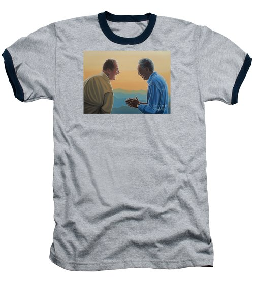 Jack Nicholson And Morgan Freeman Baseball T-Shirt by Paul Meijering