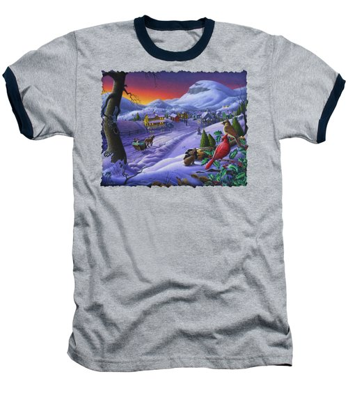 Christmas Sleigh Ride Winter Landscape Oil Painting - Cardinals Country Farm - Small Town Folk Art Baseball T-Shirt by Walt Curlee