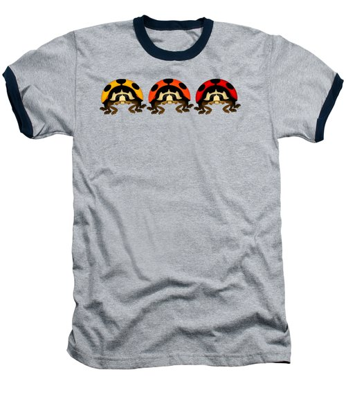 3 Bugs In A Row Baseball T-Shirt by Sarah Greenwell