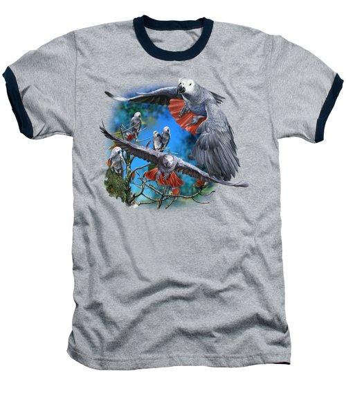 African Grey Parrots Baseball T-Shirt by Owen Bell