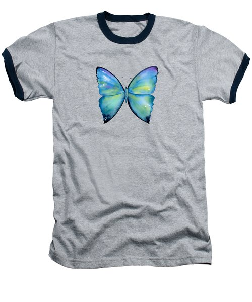 2 Morpho Aega Butterfly Baseball T-Shirt by Amy Kirkpatrick