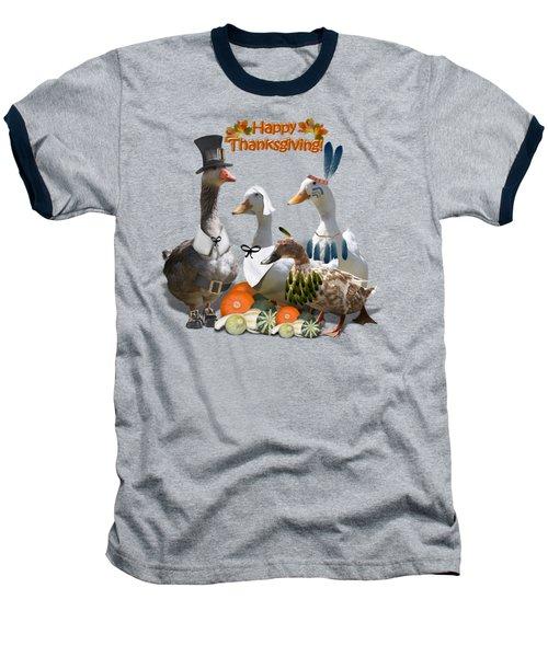 Thanksgiving Ducks Baseball T-Shirt by Gravityx9 Designs