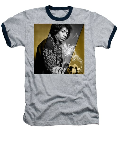 Jimi Hendrix Collection Baseball T-Shirt by Marvin Blaine