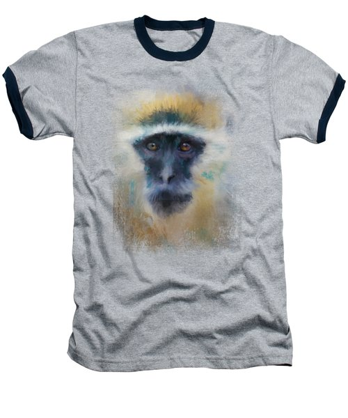 African Grivet Monkey Baseball T-Shirt by Jai Johnson