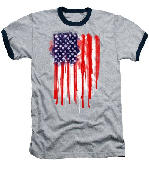 American Spatter Flag Baseball T-Shirt by Nicklas Gustafsson