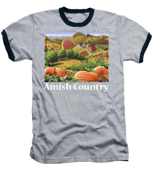 Amish Country T Shirt - Appalachian Pumpkin Patch Country Farm Landscape 2 Baseball T-Shirt by Walt Curlee
