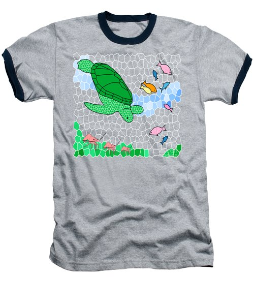 Turtle And Friends Baseball T-Shirt by Methune Hively