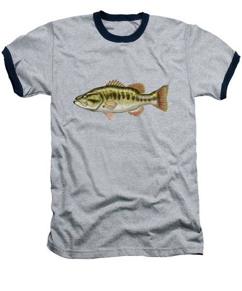 Largemouth Bass On Red Leather Baseball T-Shirt by Serge Averbukh