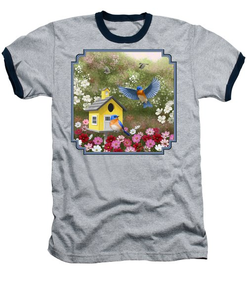 Bluebirds And Yellow Birdhouse Baseball T-Shirt by Crista Forest