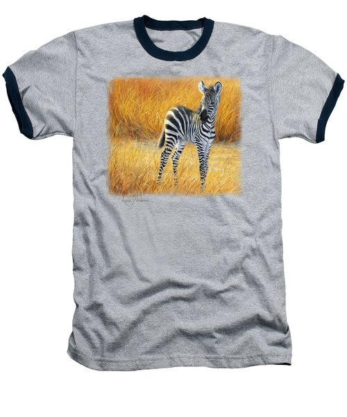 Baby Zebra Baseball T-Shirt by Lucie Bilodeau