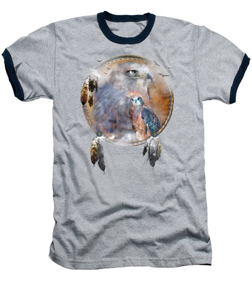 Dream Catcher - Hawk Spirit Baseball T-Shirt by Carol Cavalaris