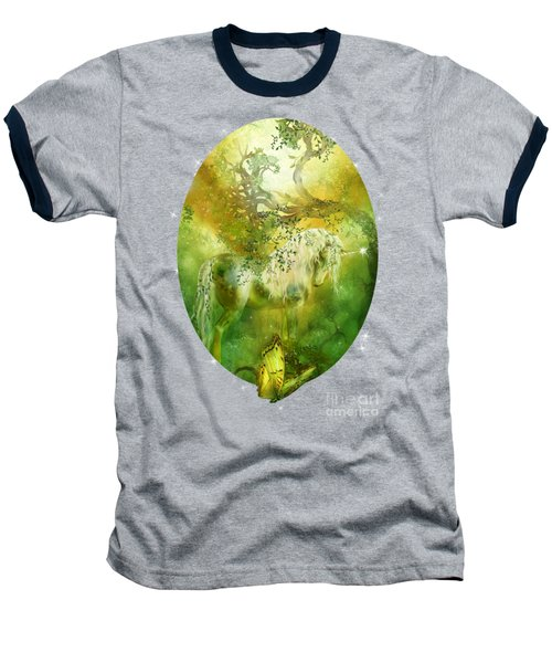 Unicorn Of The Forest  Baseball T-Shirt by Carol Cavalaris