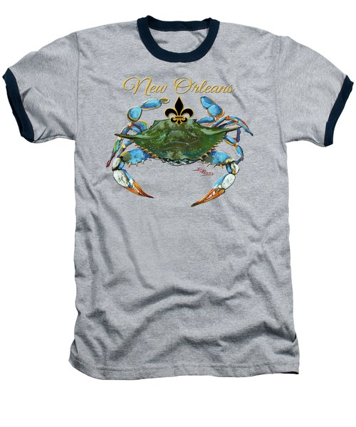 Louisiana Blue On Red Baseball T-Shirt by Dianne Parks