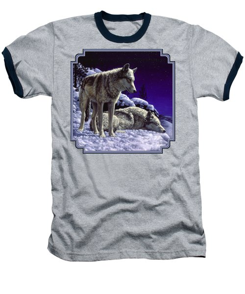 Wolf Painting - Night Watch Baseball T-Shirt by Crista Forest
