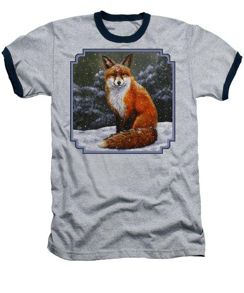 Snow Fox Baseball T-Shirt by Crista Forest