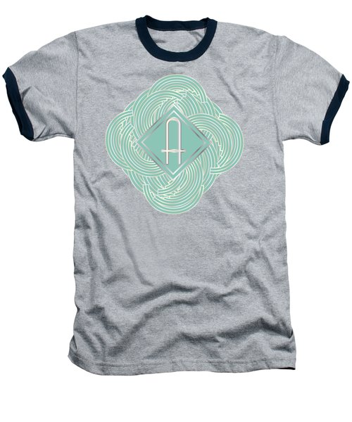 1920s Blue Deco Jazz Swing Monogram ...letter A Baseball T-Shirt by Cecely Bloom