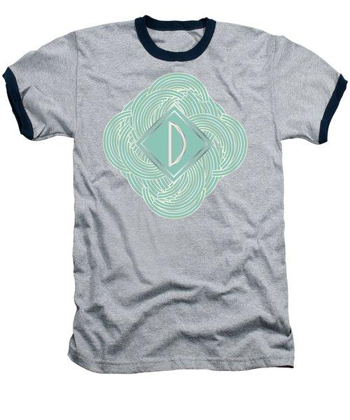 1920s Blue Deco Jazz Swing Monogram ...letter D Baseball T-Shirt by Cecely Bloom