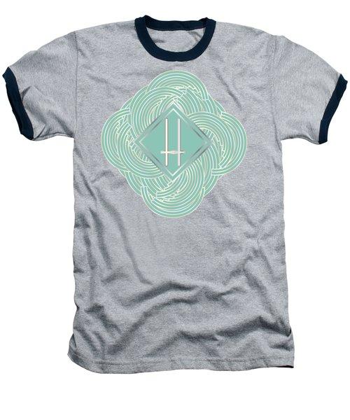 1920s Blue Deco Jazz Swing Monogram ...letter H Baseball T-Shirt by Cecely Bloom