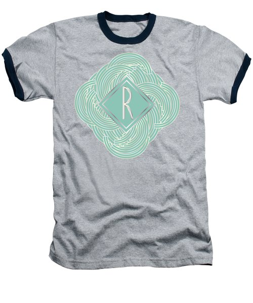 1920s Blue Deco Jazz Swing Monogram ...letter R Baseball T-Shirt by Cecely Bloom