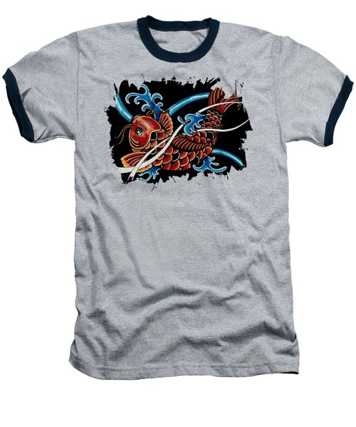 Asian Koi Baseball T-Shirt by Maria Arango