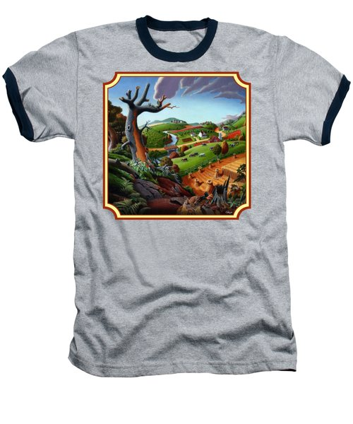 Autumn Wheat Harvest Country Farm Life Landscape - Square Format Baseball T-Shirt by Walt Curlee