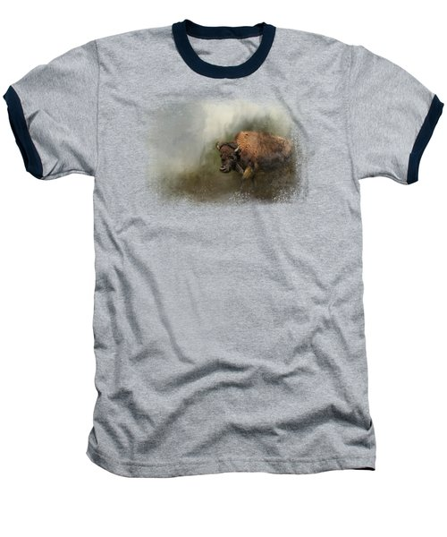 Bison After The Mud Bath Baseball T-Shirt by Jai Johnson