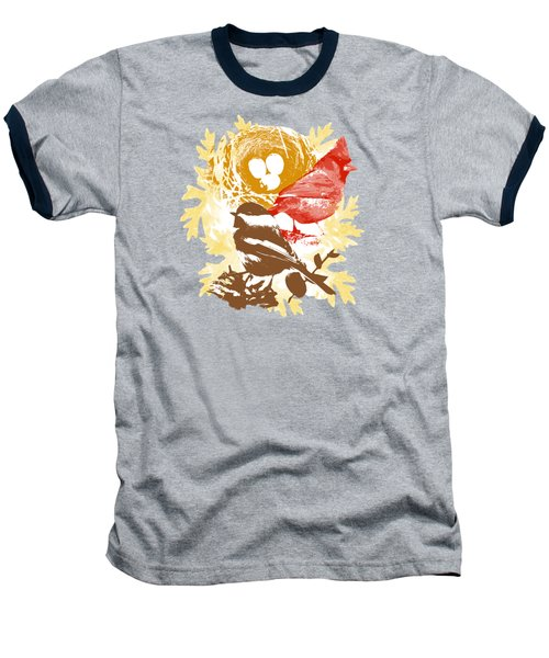 Cardinal Chickadee Birds Nest With Eggs Baseball T-Shirt by Christina Rollo
