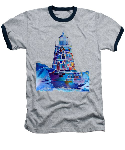 Castle Hill Newport Lighthouse Baseball T-Shirt by Jo Lynch