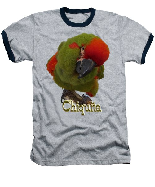 Chiquita, A Red-front Macaw Baseball T-Shirt by Zazu's House Parrot Sanctuary