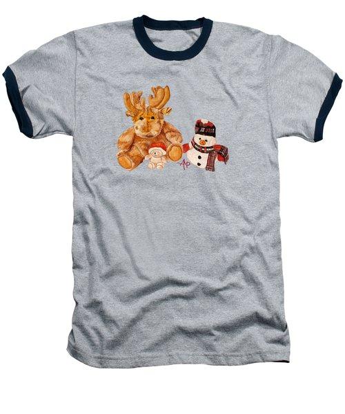 Christmas Buddies Baseball T-Shirt by Angeles M Pomata