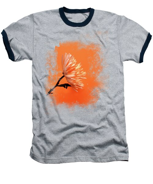 Chrysanthemum Orange Baseball T-Shirt by Mark Rogan