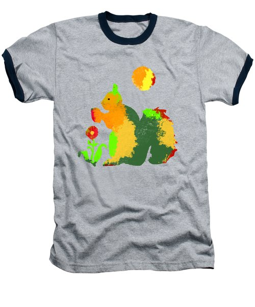 Colorful Squirrel 1 Baseball T-Shirt by Holly McGee
