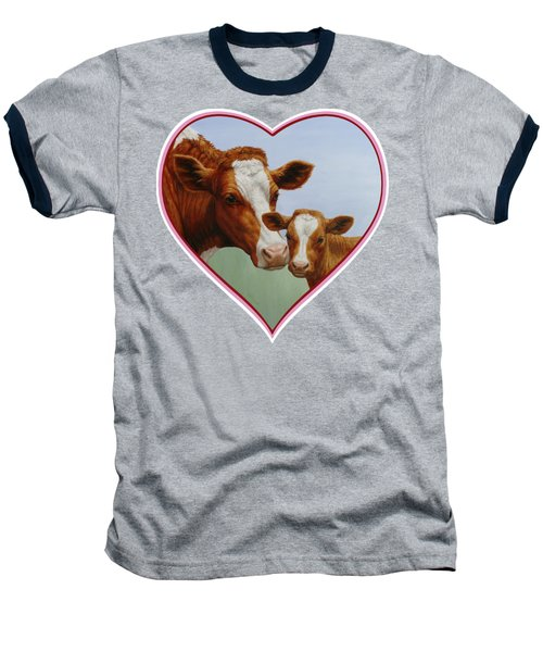 Cow And Calf Pink Heart Baseball T-Shirt by Crista Forest