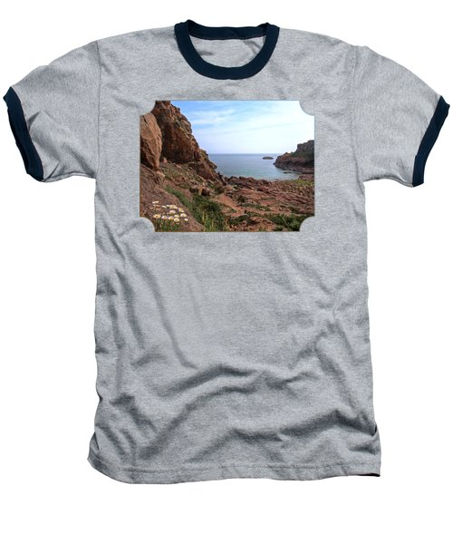 Daisies In The Granite Rocks At Corbiere Baseball T-Shirt by Gill Billington