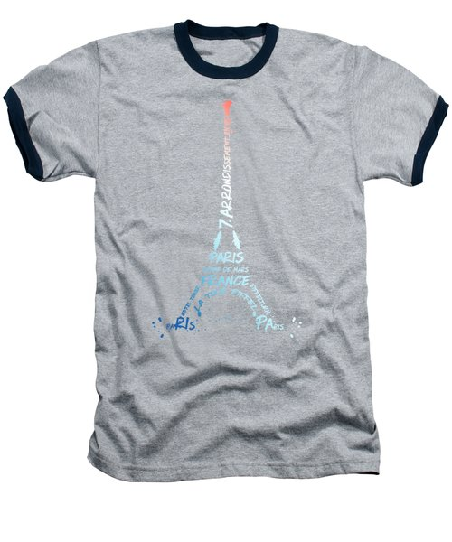 Digital-art Eiffel Tower National Colours Baseball T-Shirt by Melanie Viola