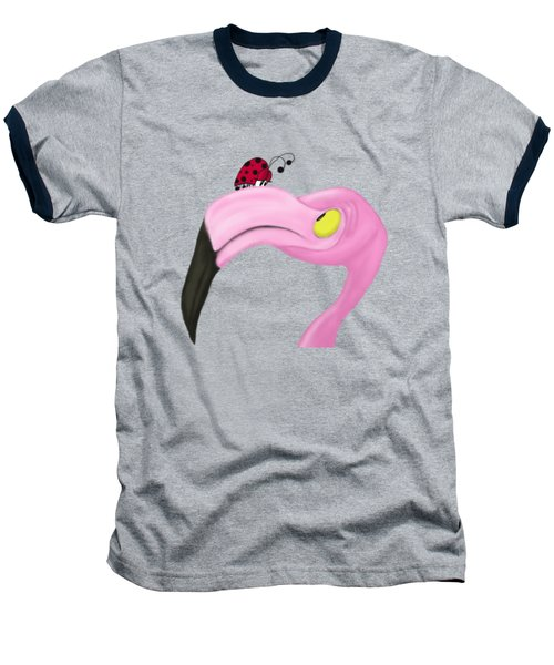 Fiona The Flamingo And Her Visitor Baseball T-Shirt by Michelle Brenmark