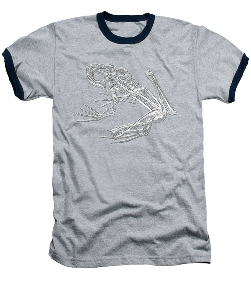 Frog Skeleton In Silver On Blue  Baseball T-Shirt by Serge Averbukh