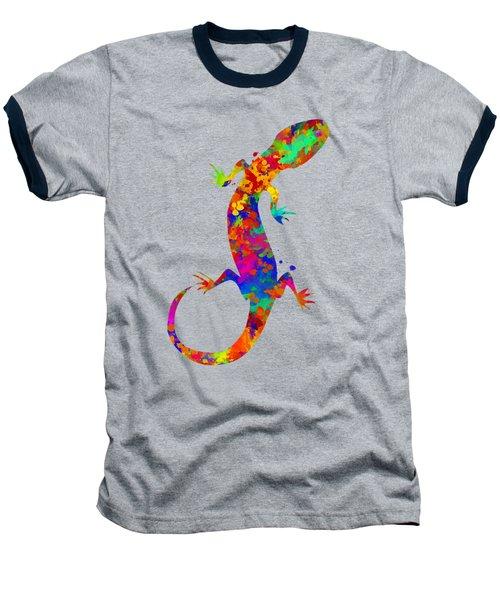 Gecko Watercolor Art Baseball T-Shirt by Christina Rollo