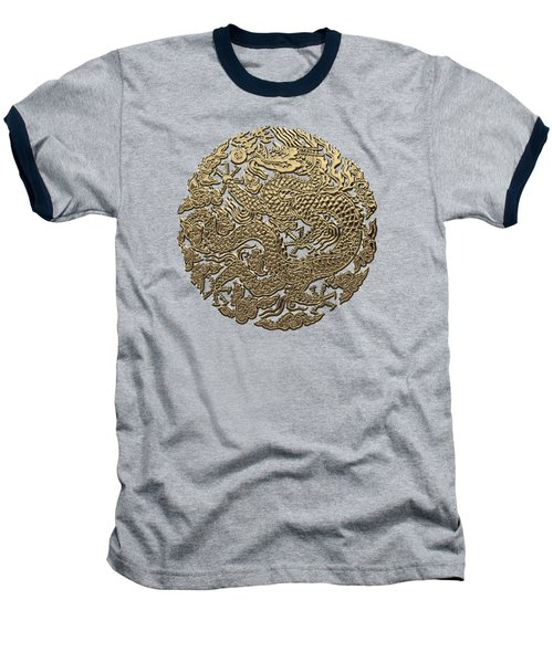 Golden Chinese Dragon On Red Leather Baseball T-Shirt by Serge Averbukh