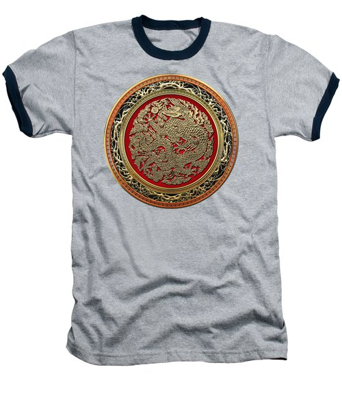 Golden Chinese Dragon On Red Velvet Baseball T-Shirt by Serge Averbukh