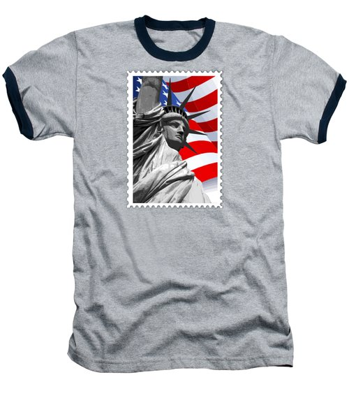 Graphic Statue Of Liberty With American Flag Baseball T-Shirt by Elaine Plesser