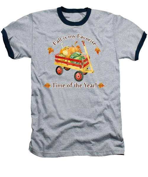 Harvest Red Wagon Pumpkins N Leaves Baseball T-Shirt by Audrey Jeanne Roberts