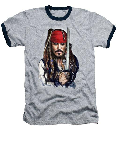 Johnny Depp As Jack Sparrow Baseball T-Shirt by Melanie D